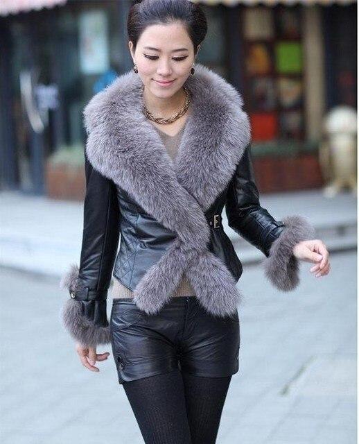 cc4fd45e962 Women long faux fur PU leather coat poncho fourrure Plus Size 2XL 3XL fur  collar black