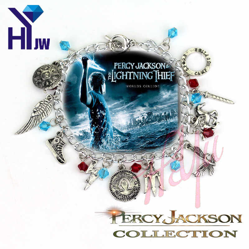 Hot Movie Percy Jackson Crystal Beads Pendent Charm Bracelet Simple Vintage Movie Jewelry Fashion Hand Catenary Wristlet Bangle