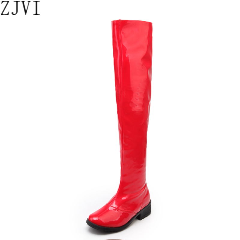 ФОТО ZJVI woman patent over the knee boots womens fashion thigh high boots women square heels round toe shoes ladies autumn boots