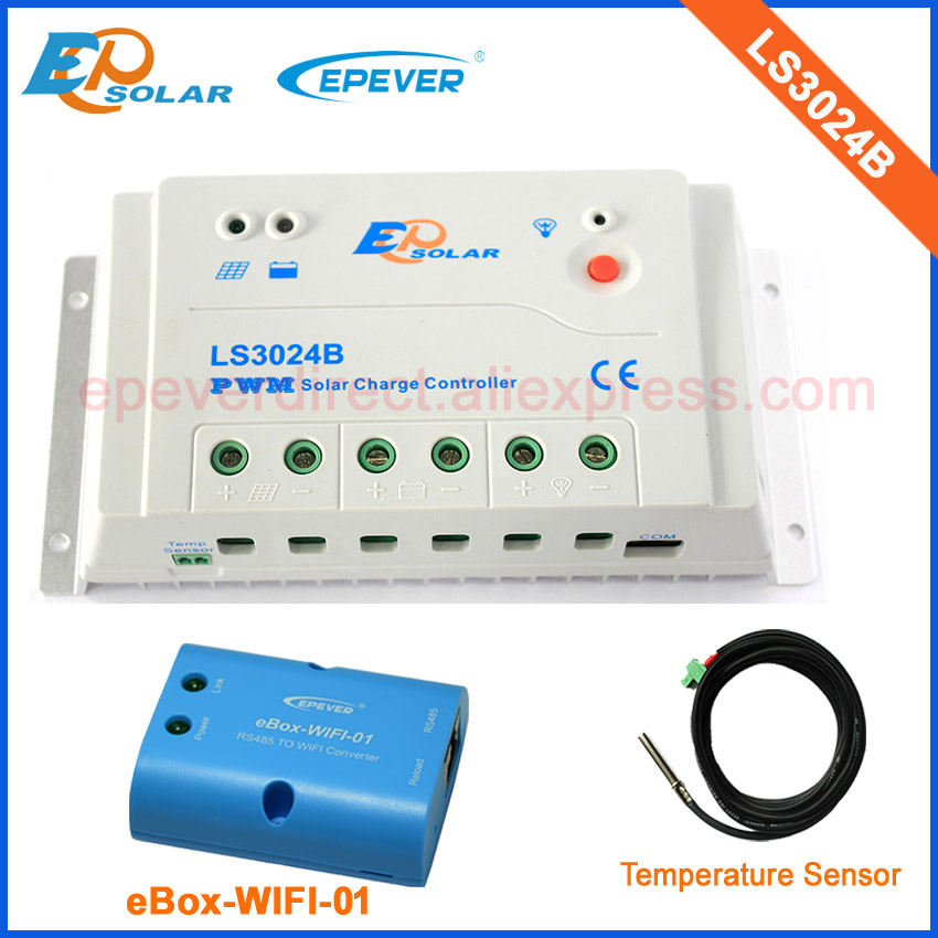 LS3024B 12v 24v automatic work for EPEVER brand solar panel charging controller with temperature sensor and wifi BOX 30A 20a 12 24v solar regulator with remote meter for duo battery charging
