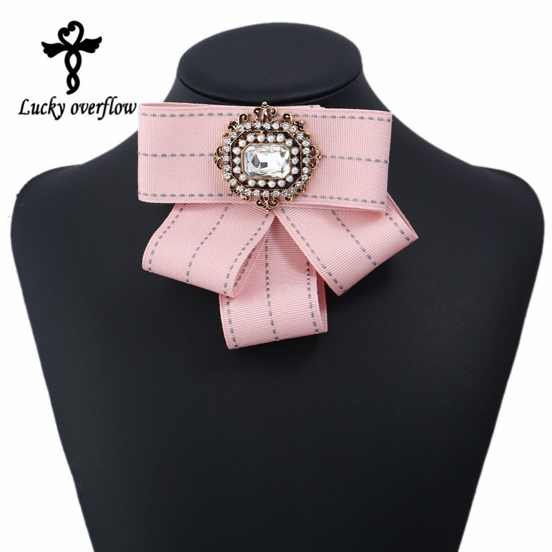 Hot Sale Vintage Brooch Fabric Handmade Bow Brooch for Women Neck Tie Imported Material Wedding Party Accessories Valentine Gift