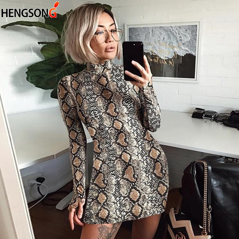 HENGSONG Autumn snake skin long sleeve dress women Turtleneck sexy Bodycon dresses Women Club Wear Mini Dress vestido 745928