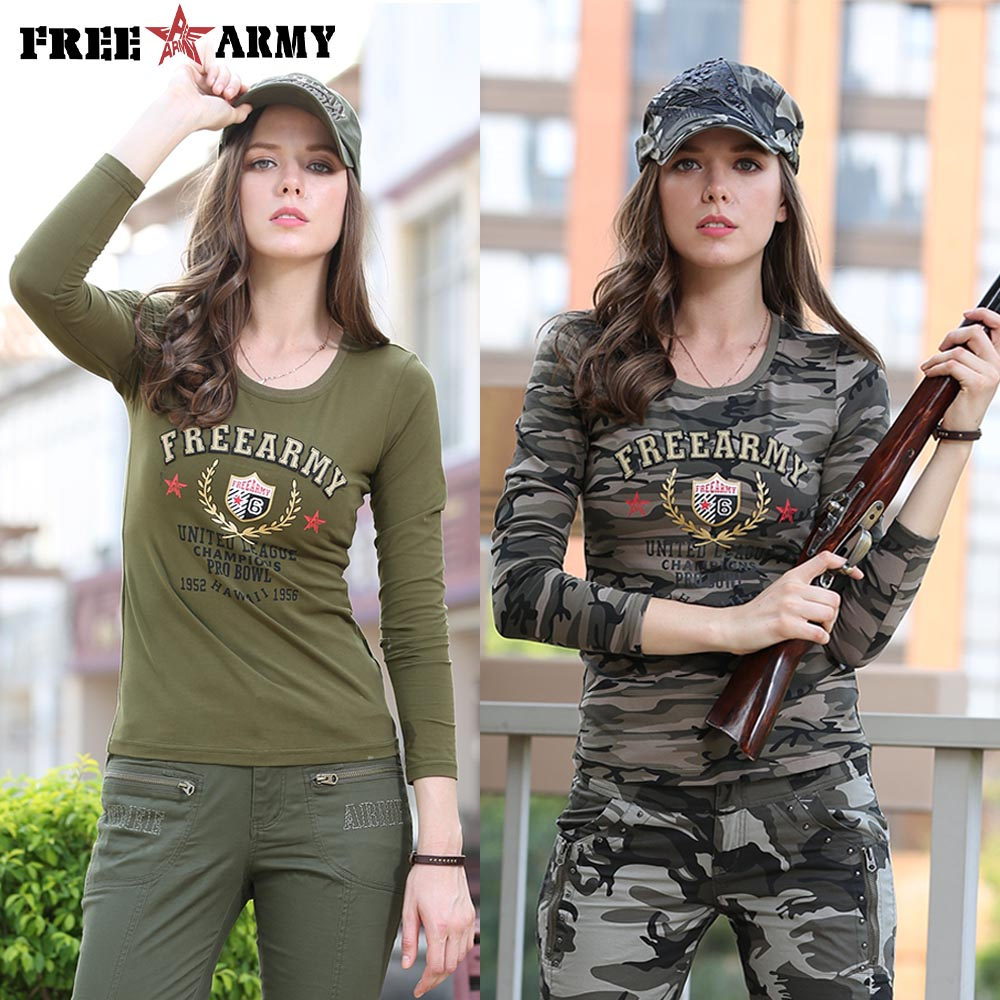 Brand Casual Long Sleeve T-shirts O-neck Women Military Fashion T-shirt Army Green Camo Tee Shirt Cotton Tops Tees Female 3XL