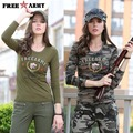 Fashion Long Sleeve Camouflage T Shirts Womens O-Neck Military Army Green Cotton Spandex T shirts Ladies Tops and Tees Gs-8359