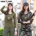 Moda Verde Del Ejército Militar Camuflaje Camisetas Para Mujer Del O-cuello de Manga Larga de Algodón Spandex camisetas de Las Señoras Tops y Camisetas Gs-8359
