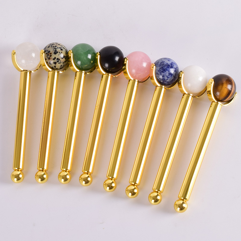 Stainless Steel Wand Roller Face Natural Jade Massage Ball Eye Roller Quartz Slimming Anti Wrinkle Cellulite Crystal Tool