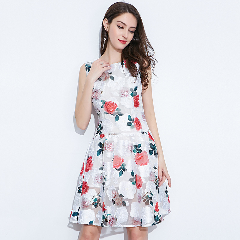 2018New Europe American Women Maternity Dress Summer Sleeveless Pregnancy Dress Knee-length Embroidery Floral Maternity Dresses