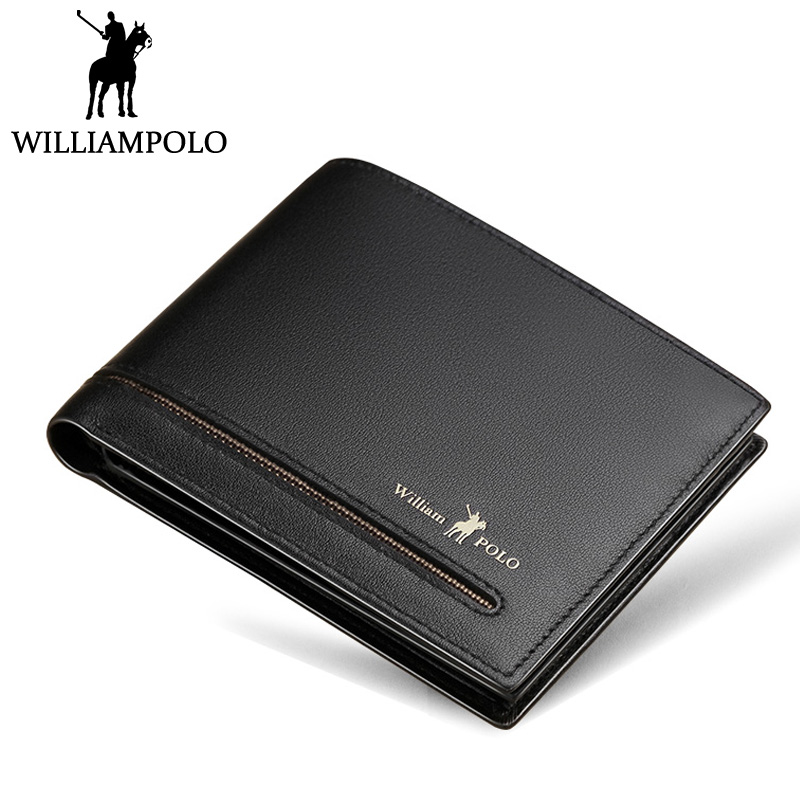 WilliamPOLO Slim Wallet Men Leather Mini Wallet Short Purse Bifolds For Male 2018 Fashion New Cowhide Pouch Black Gift Box Bag williampolo metal mini wallet men leather slim bifold purse pouch front pocket real leather purse short small wallet male pl189