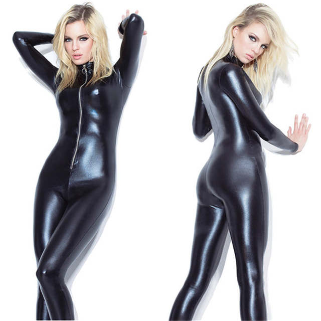 58c460eb72 YUFEIDA Lady Sexy Zipper Faux Leather Catsuit Jumpsuit Womens Fetish Latex  Leotard Costume Black Wet look