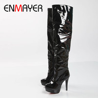 ENMAYER New Winter Fashion Sexy Thin High Heeled Women S Slim Woman Thigh Boots Over The
