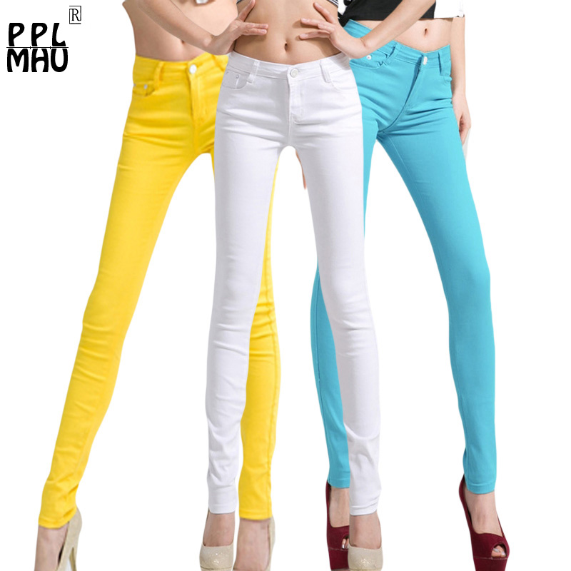 Slim waist   Jeans   For Women Skinny low rise   Jeans   Woman Blue Denim Pencil Pants Stretch Waist Women   Jeans   Pants Plus Size