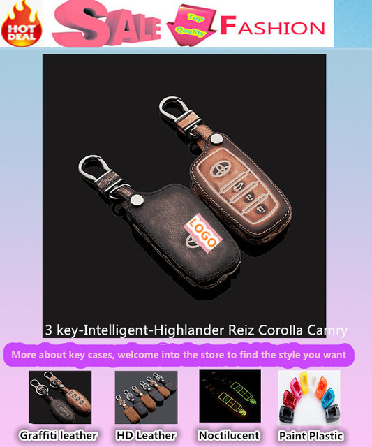 Envío Gratis car styling keys bolsa casos cubierta de Cuero inteligente/plegable de Graffiti para T0Y0TA Corolla Camry Highlander Reiz