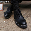 LIN KING New Brand High Top Zipper Square Heel Men Fashion Motorcycle Boots Lace Up Combat Martin Shoes Vintage Gladiator Boots