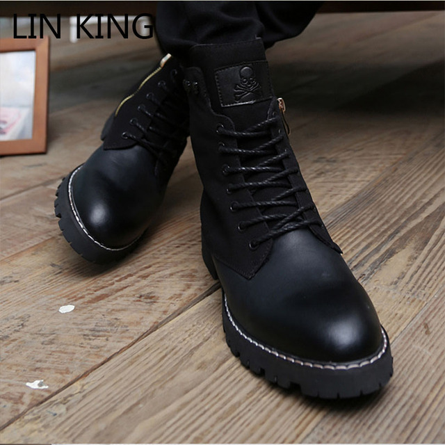 afcd2f47a288 LIN KING New Brand High Top Zipper Square Heel Men Fashion Motorcycle Boots  Lace Up Combat