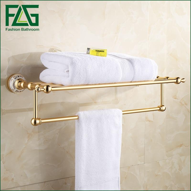 FLG High Quality Space aluminum oxidation Bath towel rack Wall Mount Bathroom Accessories fixed Towel Rack