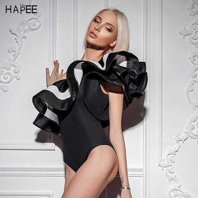 2019 Black White Ruffles Jumpsuit Romper One Piece Swimsuit Brazilian One Off Shoulder Monokini Swimwear Bathing Suit For Women