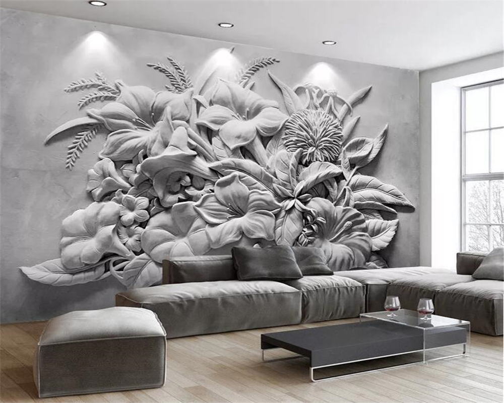 Beibehang Custom Wallpaper Photo 3D Embossed Flower TV Sofa Wall Paper Home Decoration Living Room Bedroom Mural 3d Wallpaper