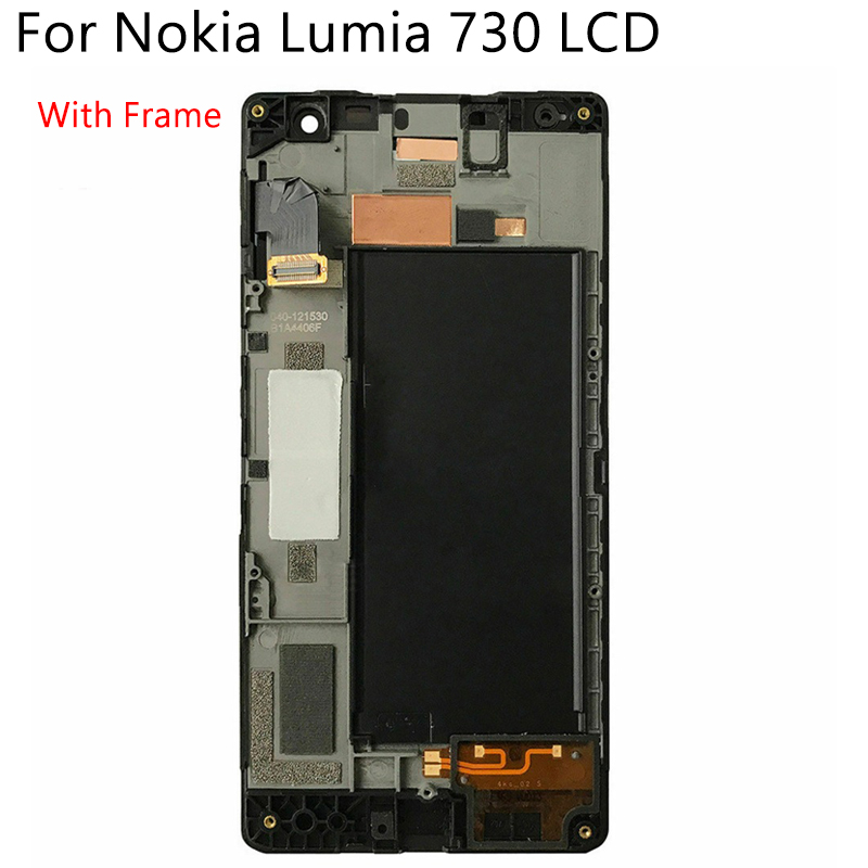 Image 2 - Original OLED For Nokia Lumia 730 RM 1038 LCD Display Touch Screen With Frame Digitizer Replacement Assembly 100% Tested-in Mobile Phone LCD Screens from Cellphones & Telecommunications