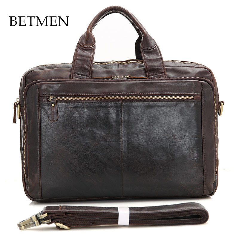 BETMEN Vintage Men Bag Brand Handbag Luxury Genuine Leather Bag Business Casual Men Briefcase Shoulder Bags
