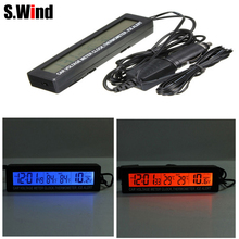 Car Voltage Meter 12 24V Auto Car 3 in1 Digital LCD Clock In Out Display Screen