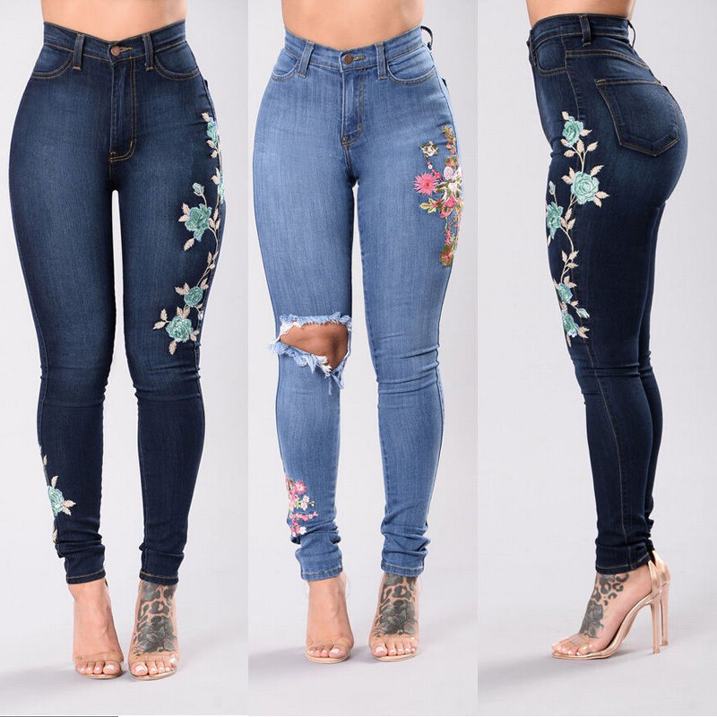 Fashion WOMENS PLUS SIZE HIGH WAIST Distressed RIPPED BLUE SKINNY DENIM JEANS Embroidery Stretch Pencil Pants