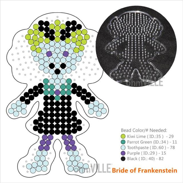 100866 de la novia de Frankenstein PegBoards para 5 mm Perler perlas ...