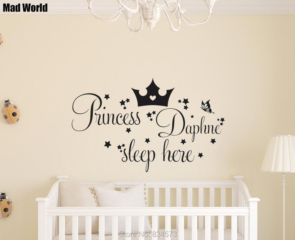 Personalised Princess Custom Name Sleep Here Wall Art Stickers Wall Decal Home DIY Decoration Removable Room Decor Wall Stickers