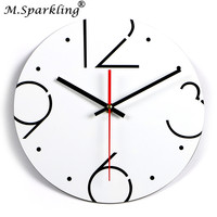 М. сверкающие современные украшения дома настенные часы, краткое Стиль Mute черный, белый цвет акрил цифровой Настенные часы Relogio де Parede подар...
