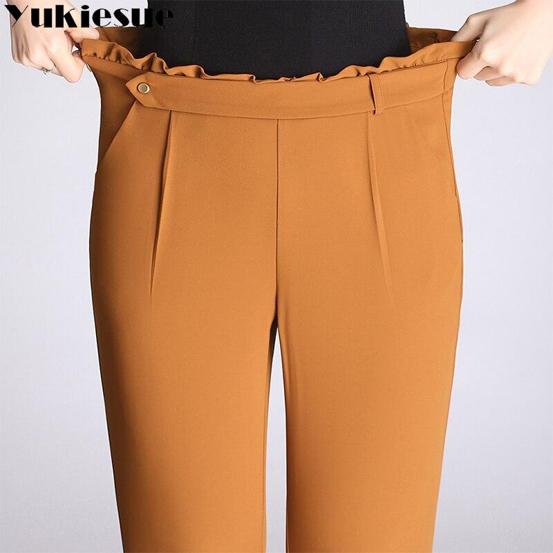 YUKIESUE Streetwear Solid color feet   pants     capri   Ruffle slim casual   pants   women 2018 Summer trousers high waist   pants