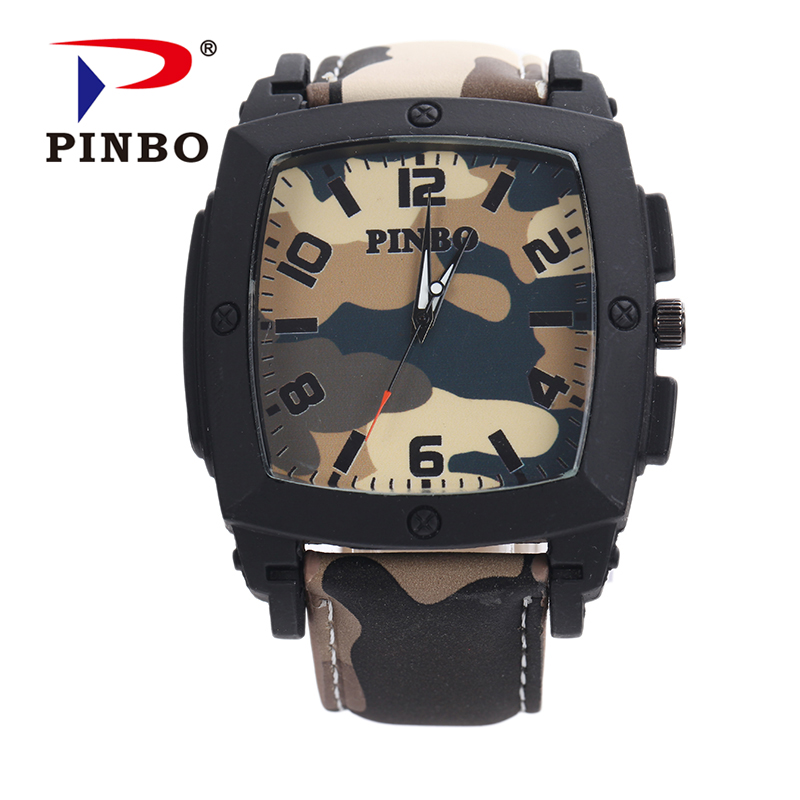 2019 Nieuwe PINBO Merk Heren Army Casual Quartz horloge Heren Camouflage Lederen Band Militaire Horloges Relogio Feminino Klok Hot Sale