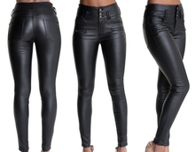 Fashion skinny  button high waist pencil pants  women leather jeans black trousers full length plus size womans feminino