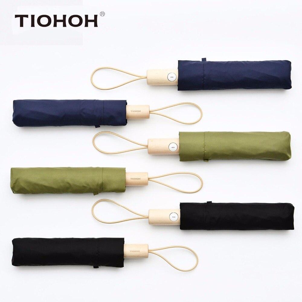Tiohoh New Three Fold Automatic Umbrella Women Men Telfon Super Splash Pongee Brand Folding Rain Umbrellas Maple Handle Parasol
