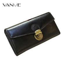Luxury Lady Purse Genuine Leather Wallet Women Top Grade Metal Hasp Lock Luxury Design Female Cards Holder Famous Brand Wallets