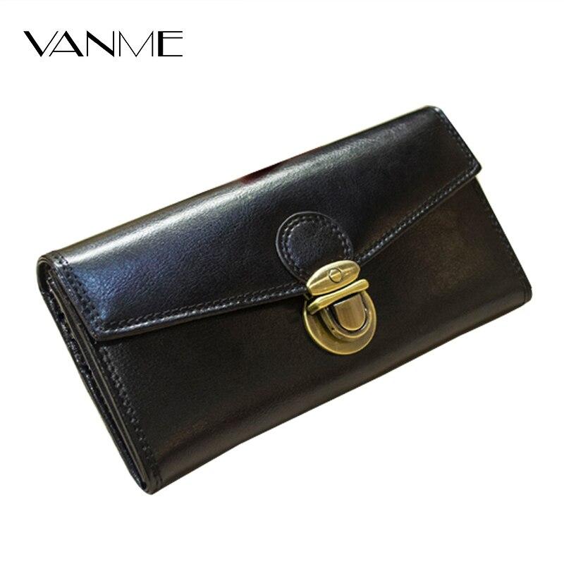 Luxury Lady Purse Genuine Leather Wallet Women Top Grade Mets
