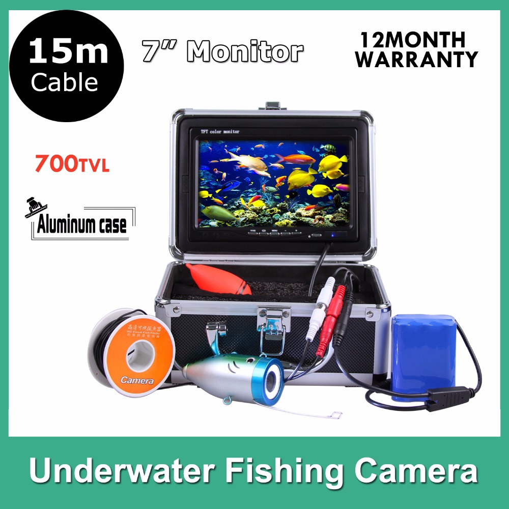 Hotsales Fish Finder Fishing Underwater Video Camera 700 TV Line 7 LCD Monitor 15M Cable 92degree Wide Angle 7 lcd monitor hd 1000tvl waterproof 100m cable rechargeable battery fish finder underwater fishing video camera with led