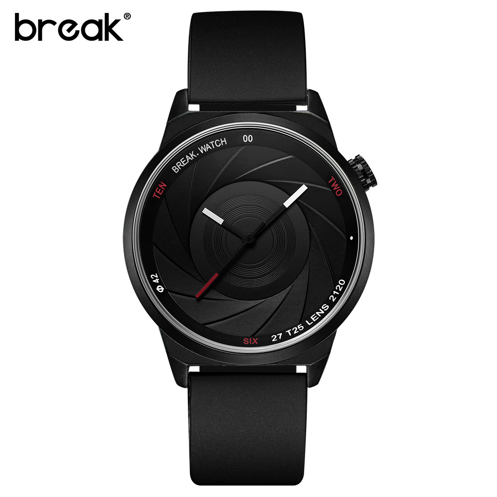 BREAK Men Women Unisex Unique Camera Photographer Style Stainless Rubber Band Casual Fashion Sport Quartz Gift Watch for Women break photographer series unique camera style stainless strap men women casual fashion sport quartz modern gift wrist watches