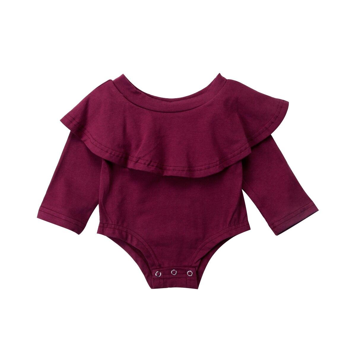 2017 Beiläufige Kleinkind Baby Mädchen Schulterfrei Langarm Bodysuitoverall Outfits Set Größe 0-24 Mt Komplette Artikelauswahl