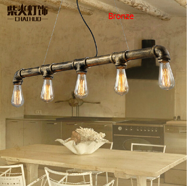 Nordic Retro Edison Pendant Lights American Vintage LOFT Industrial Bar Water Pipe Lampshade Creative Fixture110-240V Home Decor mordern nordic retro edison bulb vintage chandelier loft antique adjustable diy e27 art spider pendant lamps home fixture lights