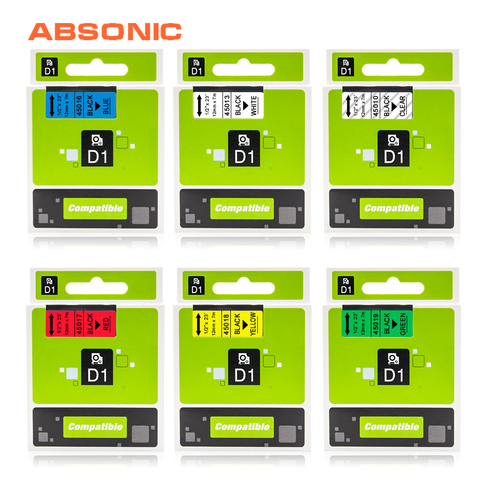 Absonic 12mm Compatible Dymo D1 Label Printer Ribbon Tape 45013 45010 45017 45018 for DYMO Label Maker LabelManager 160 280 260PAbsonic 12mm Compatible Dymo D1 Label Printer Ribbon Tape 45013 45010 45017 45018 for DYMO Label Maker LabelManager 160 280 260P