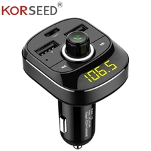 KORSEED Bluetooth Handsfree Kit Type-C USB Car Charger FM Transmitter Radio TF Card Music Mp3 Player wireless Hands-free Car Kit недорого