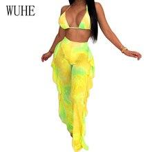 WUHE Two Piece Set Sexy V Neck Sheer Mesh Ruffles Print Bodysuit Women Streetwear Overalls Boho Beach Club Bodycon Jumpsuit