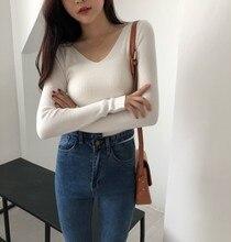 V-neck Pullovers Shirt Woman 2019 Knitting Unlined Upper Garment Long Sleeve Knit Base Sweater Elastic Autumn Bottoming Shirt недорого