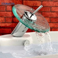 Free Shipping Wholesale And Retail Deck Mount Waterfall Bathroom Faucet Vanity Vessel Sinks Mixer Tap Glass