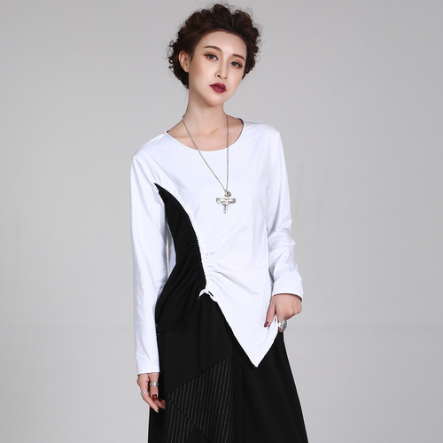 4792c6464a115 2018 New Black And White Patchwork Women T-shirts Women Asymmetrical Top  Knitted Cotton Fashion Full Sleeve Plus Size Shirt