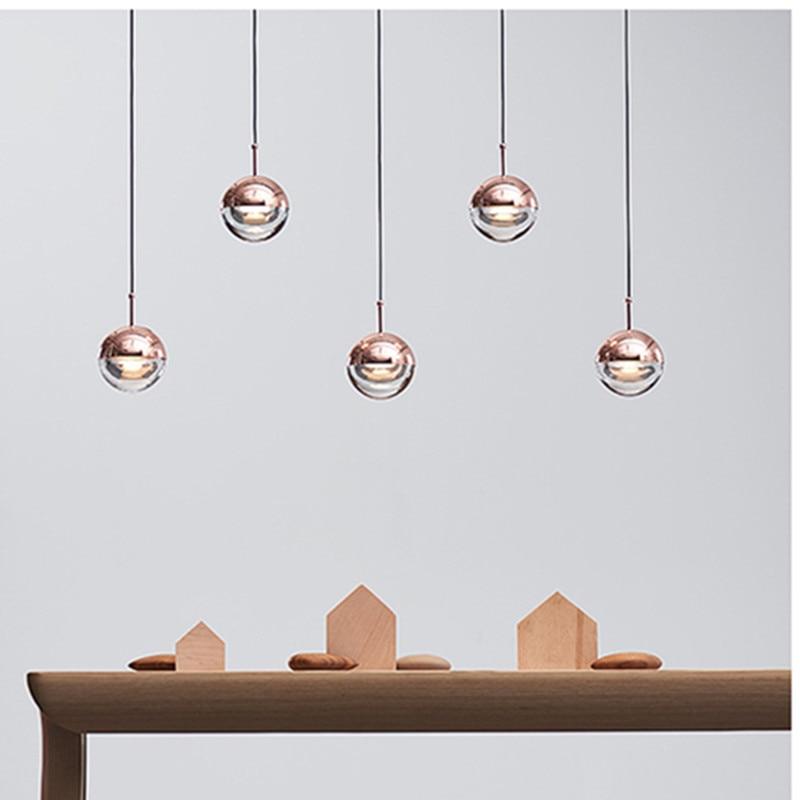 Nordic Loft Rose Gold Crystal Ball Pendant Light Personality Designer Aisle Bar Living Room Bedside Suspension Light Fixtures