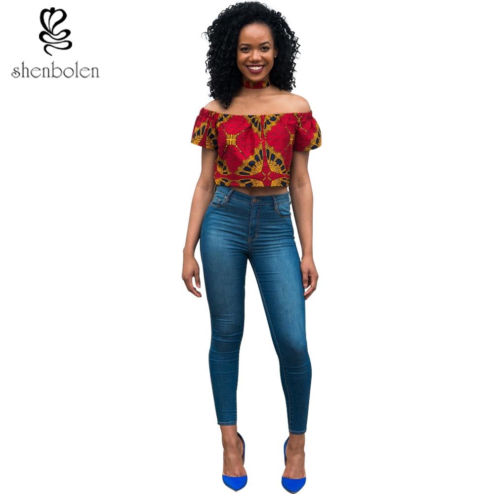 2017 summer ankara African clothing sexy horizontal neck short sleeve short tops for women dashiki batik wax print cotton shirt