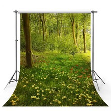 Vinyl Photography Backdrop Spring Season Green Lawn Forest Wildflower Tree Landscape Decor Children Background Photo Studio