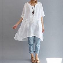 2019 New Arrival Women Solid Long Blouse Cotton Linen Short Sleeve Asymmetric Loose Oversized Shirt Pockets Tops Plus Size L-5XL