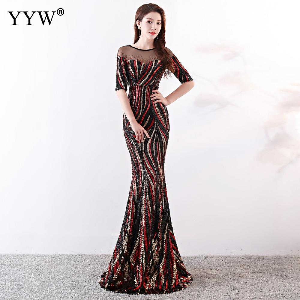 Image 3 - Crystal O Neck Striped Sequined Mermaid Long Dresses Elegant Half  Sleeve Illusion Backless Party Formal Gowns Ladies Maxi DressEvening  Dresses