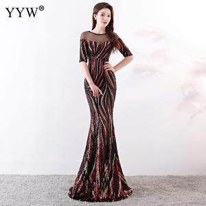 Image 3 - Crystal O Neck Striped Sequined Mermaid Long Dresses Elegant Half Sleeve Illusion Backless Party Formal Gowns Ladies Maxi Dress